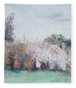 Country Cottage In Spring Time Fleece Blanket