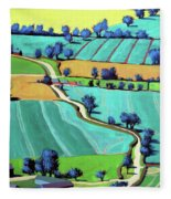 Country Lane Summer II Fleece Blanket