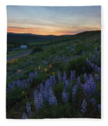 Country Meadow Sunset Fleece Blanket