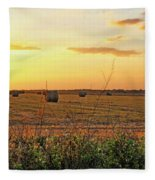 Country Pasture At Sunset Fleece Blanket