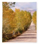 Country Road Autumn Fall Foliage View Of The Twin Peaks Fleece Blanket