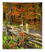 Country Road In Autumn Forest Fleece Blanket