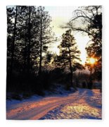 Country Road Sunset Fleece Blanket