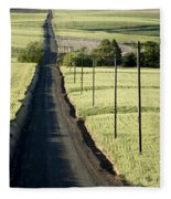 Country Road, Wheat Fields Fleece Blanket