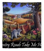 Country Roads Take Me Home T Shirt - Coon Gap Holler - Appalachian Country Landscape 2 Fleece Blanket