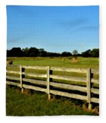 Country Scene With Field And Hay Bales Fleece Blanket