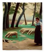 Country Shepherdess  Fleece Blanket