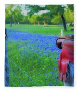 Country Western Blue Bonnets Fleece Blanket