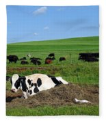 Countryside Cows Fleece Blanket