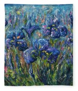 Countryside Irises Oil Painting With Palette Knife Fleece Blanket