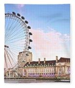 County Hall And London Eye Fleece Blanket