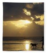 County Meath, Ireland Girl Walking Dog Fleece Blanket