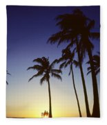 Couple And Sunset Palms Fleece Blanket