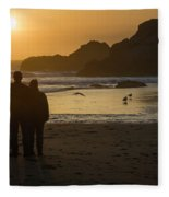 Couple At Harris Beach 0197 Fleece Blanket