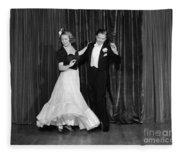 Couple Ballroom Dancing On Stage Fleece Blanket