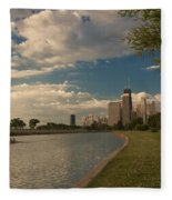 Couple Rowing In Chicago Fleece Blanket