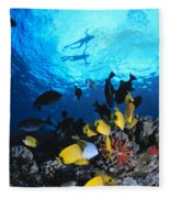 Couple Snorkels At Surfac Fleece Blanket