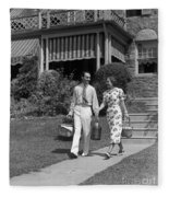 Couple Walking Out Of House, C.1930s Fleece Blanket