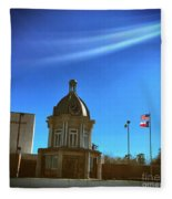 Courthouse And Flags Fleece Blanket