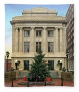 Courthouse At Christmas Fleece Blanket