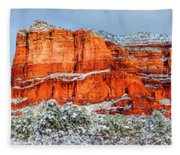 Courthouse Butte And Bell Rock Under Snow Fleece Blanket