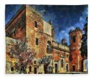 Courtyard, Mellieha, Malta Fleece Blanket