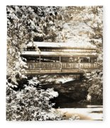 Covered Bridge At Lanterman's Mill Black And White Fleece Blanket