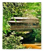 Covered Bridge At Lanterman's Mill Fleece Blanket