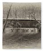 Covered Bridge In Black And White Fleece Blanket