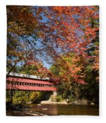Covered Bridge Over The Swift River In Conway Fleece Blanket