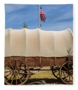 Covered Wagon At Fort Bluff Fleece Blanket