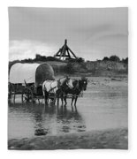 Covered Wagon River Ford And Cable Ferry 1903 Fleece Blanket