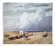 Covered Wagons Heading West Fleece Blanket