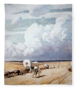 Covered Wagons Heading West Fleece Blanket