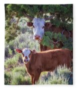 Cow And Calf Fleece Blanket