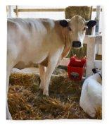 Cow And Little Calf Fleece Blanket