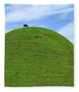 Cow Eating On Round Top Hill Fleece Blanket