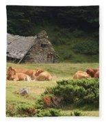 Cow Family Pastoral Fleece Blanket