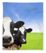 Cow On Green Grass Field Fleece Blanket