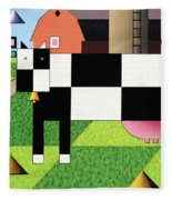 Cow Squared With Barn Big Fleece Blanket