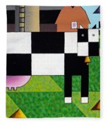 Cow Squared With Barn Left Fleece Blanket