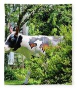 Cow Statue Fleece Blanket