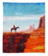 Cowboy At Monument Valley In Utah - Da Fleece Blanket