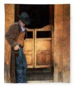Cowboy By Saloon Doors Fleece Blanket