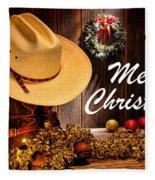 Cowboy Christmas Party - Merry Christmas Fleece Blanket