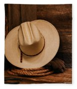 Cowboy Hat And Gear Fleece Blanket