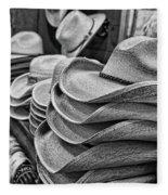 Cowboy Hats Black And White Fleece Blanket