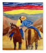 Cowboy Kisses Cowgirl Fleece Blanket