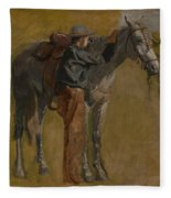 Cowboy - Study For Cowboys In The Badlands Fleece Blanket