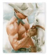 Cowboy Watercolor Fleece Blanket